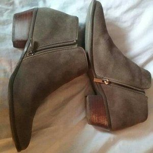 Olive Green Suede Ankle Boots, 10M